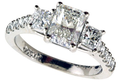 3-Stone Radiant Cut Diamond Engagement Ring