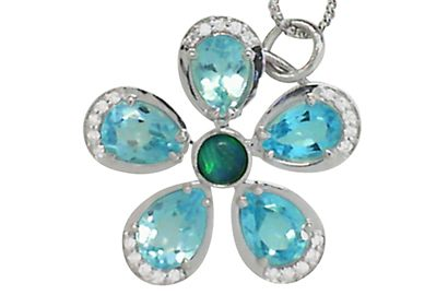 Blue Topaz and Opal Flower Pendant