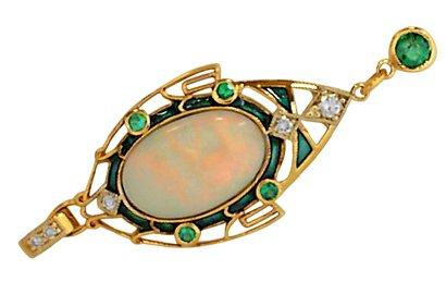Deco Opal Pendant