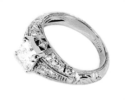 Deco Style Princess Cut Diamond Ring