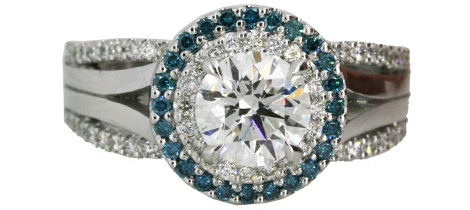 Diamond Ring with Blue Diamond Halo
