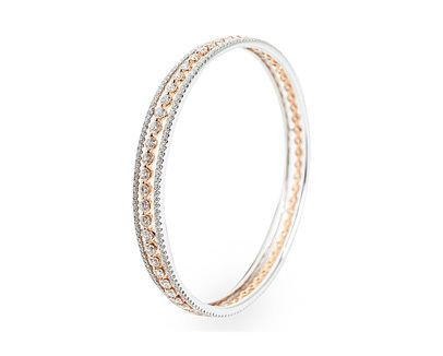 Diamond Two Tone Bangle Bracelet