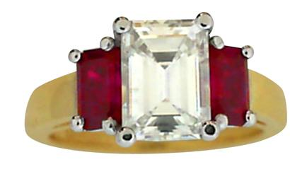 Emerald Cut Diaond and Ruby Ring