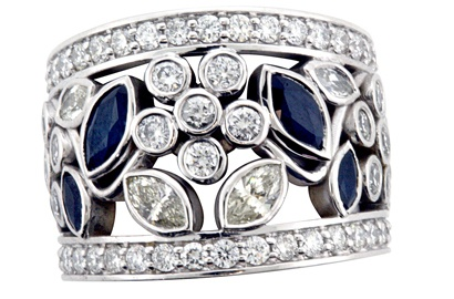 Floral Design Diamond and Sapphire Ring