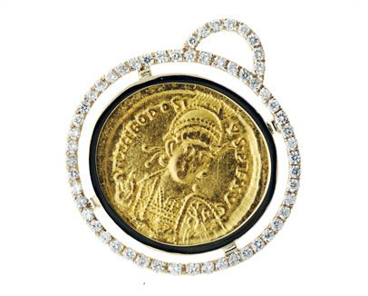 Gold Coin and Diamond Pendant