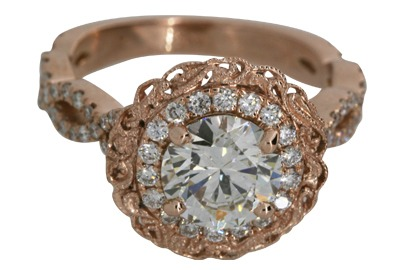 Infinity Design Engagement Ring in Rose Gold