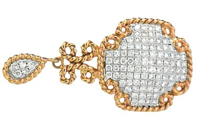 Pave Diamond and Yellow Gold Pendant