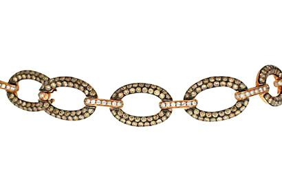 Pebbled Gold and Diamond Two-Tone Bracelet