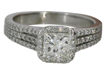 Princess Cut Split Shank Engagement Ring