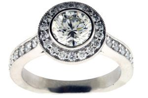Round Brilliant Pave Diamond Engagement Ring - Dominion Jewelers