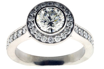 Round Brilliant Pave Diamond Engagement Ring
