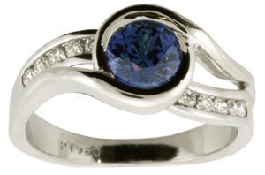 Sapphire and Diamond Swirl Engagement Ring - Dominion Jewelers