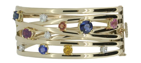 Sapphire and Diamond Studded bangle