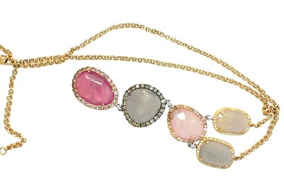 Semprecious Gemstone and Diamond Necklace