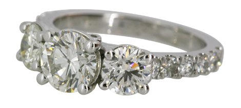 Three-Stone Ring with Diamond Band