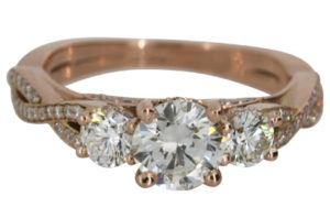 Trilogy Stone Rose Gold Engagement Ring - Dominion Jewelers