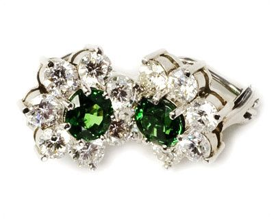 Tsavorite Garnet and Diamond Studs