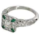 Vintage Design Diamond and Emerald Ring